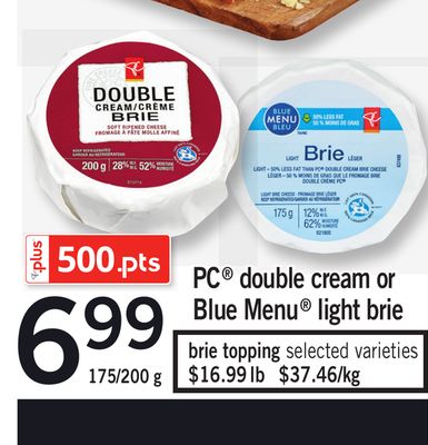 PC Double Cream Or Blue Menu Light Brie - 175/200 g
