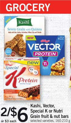 Kashi - Vector - Special K Or Nutri Grain Fruit & Nut Bars - 160-210 g