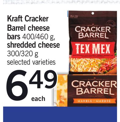 Kraft Cracker Barrel Cheese Bars 400/460 G - Shredded Cheese 300/320 g