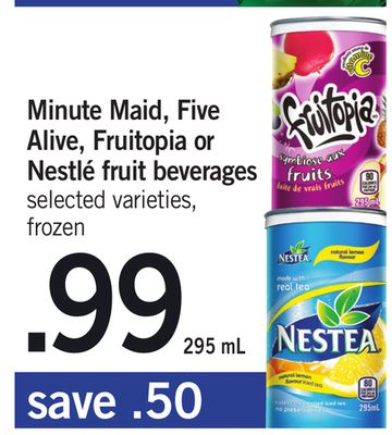 Minute Maid - Five Alive - Fruitopia Or Nestlé Fruit Beverages - 295 mL