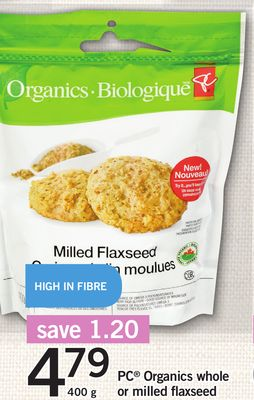 PC Organics Whole Or Milled Flaxseed - 400 g