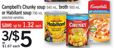 Campbell's Chunky Soup - 540 Ml - Broth 900 Ml Or Habitant Soup - 796 Ml