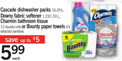 Cascade Dishwasher Packs 16-25's - Downy Fabric Softener 1.23/1.53 L - Charmin Bathroom Tissue 12 Double Rolls Or Bounty Paper Towels 6's