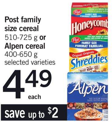 Post Family Size Cereal - 510-725 G Or Alpen Cereal - 400-650 G