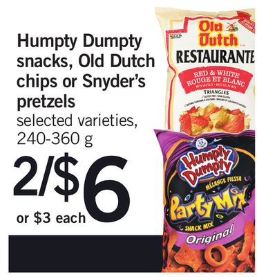 Humpty Dumpty Snacks - Old Dutch Chips Or Snyder's - 240-360 g
