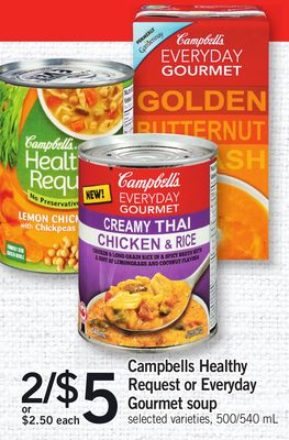 Campbells Healthy Request Or Everyday Gourmet Soup - 500/540 mL