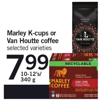 Marley K-cups Or Van Houtte Coffee - 10-12's/340 g