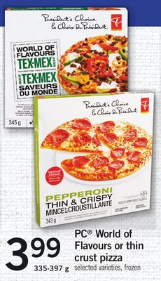 PC World Of Flavours Or Thin Crust Pizza - 335-397 g
