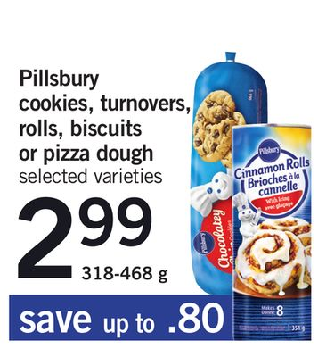 Pillsbury Cookies - Turnovers - Rolls - Biscuits Or Pizza Dough - 318-468 g