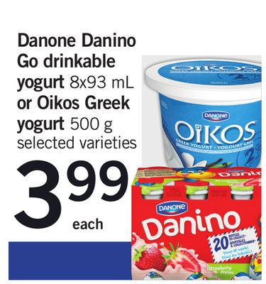 Danone Danino Go Drinkable Yogurt 8x93 Ml Or Oikos Greek Yogurt 500 G