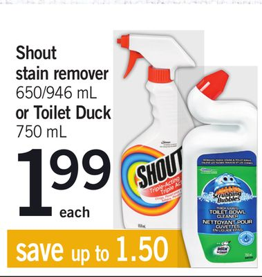 Shout Stain Remover - 650/946 mL Or Toilet Duck - 750 mL