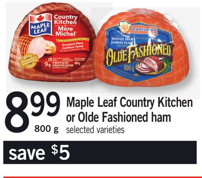 Maple Leaf Country Kitchen Or Olde Fashioned Ham - 800 g