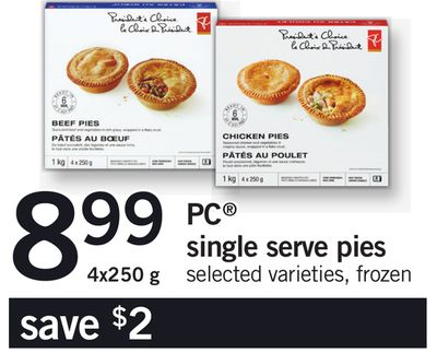 PC Single Serve Pies - 4x250 g