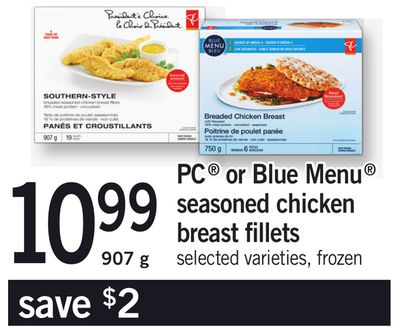 PC Or Blue Menu Seasoned Chicken Breast Fillets - 907 g