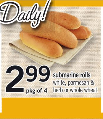 Submarine Rolls - Pkg of 4