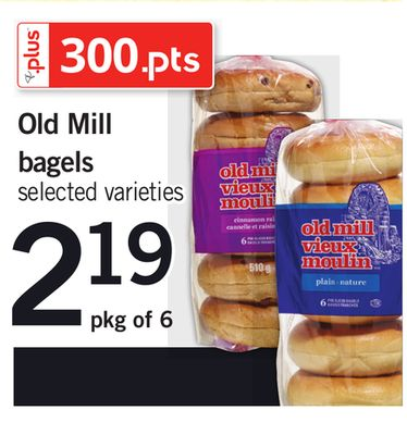 Old Mill Bagels - Pkg of 6