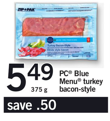 PC Blue Menu Turkey Bacon-style - 375 g