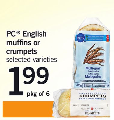 PC English Muffins Or Crumpets - Pkg Of 6