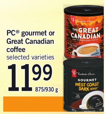 PC Gourmet Or Great Canadian Coffee - 875/930 g