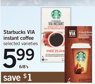 Starbucks Via Instant Coffee - 6/8's