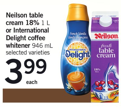 Neilson Table Cream 18% 1 L Or International Delight Coffee Whitener - 946 mL