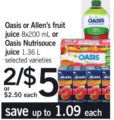 Oasis Or Allen's Juice - 8x200 Ml Or Oasis Nutrisouce Juice - 1.36 L