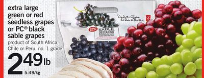 Extra Large Green Or Red Seedless Grapes Or PC Black Sable Grapes