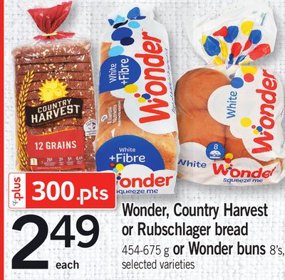 Wonder - Country Harvest Or Rubschlager Bread - 454-675 g Or Wonder Buns - 8's