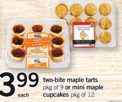 Two-bite Maple Tarts - Pkg of 9 Or Mini Maple Cupcakes - Pkg of 12