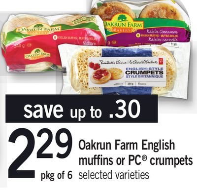 Oakrun Farm English Muffins Or PC Crumpets - Pkg of 6