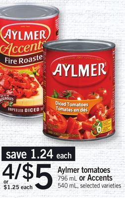 Aylmer Tomatoes - 796 Ml Or Accents - 540 Ml