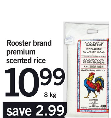 Rooster Brand Premium Scented Rice - 8 Kg