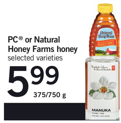 PC Or Natural Honey Farms Honey - 375/750 g