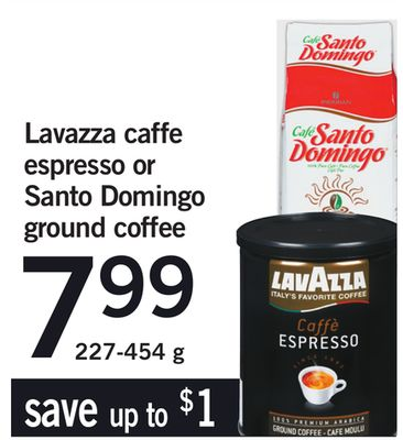 Lavazza Caffe Espresso Or Santo Domingo Ground Coffee - 227-454 g