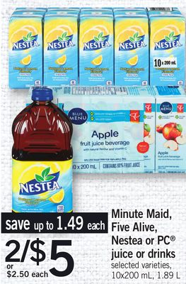 Minute Maid Five Alive - Nestea Or PC Juice Or Drinks - 10x200 mL - 1.89 L