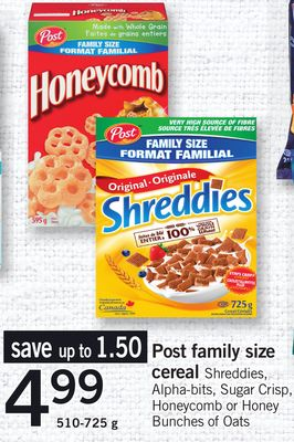 Post Family Size Cereal Shreddies - Alpha-bits - Sugar Crisp - Honeycomb Or Honey Bunches Of Oats - 510-725 g