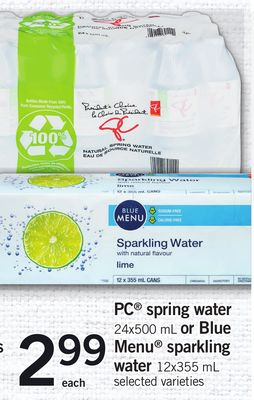 PC Spring Water - 24x500 mL Or Blue Menu Sparkling Water - 12x355 mL