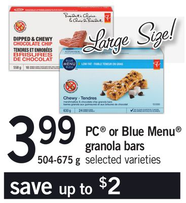 PC Or Blue Menu Granola Bars - 504-675 g