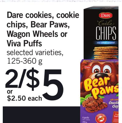 Dare Cookies - Cookie Chips - Bear Paws - Wagon Wheels Or Viva Puffs - 125-360 g