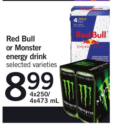 Red Bull Or Monster Energy Drink - 4x250/4x473 mL