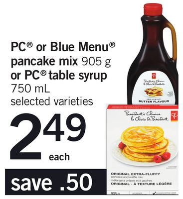 PC Or Blue Menu Pancake Mix - 905 G Or PC Table Syrup - 750 Ml
