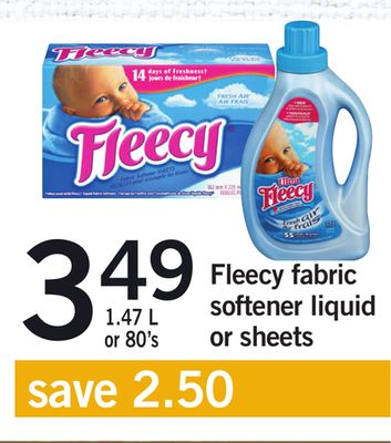 Fleecy Fabric Softener Liquid Or Sheets - 1.47 L or 80's