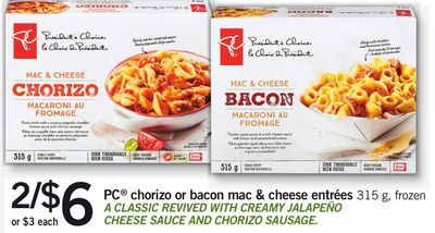 PC Chorizo Or Bacon Mac & Cheese Entrées - 315 g