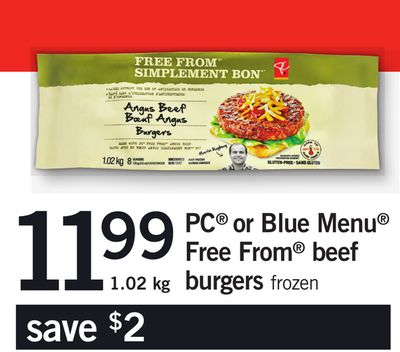 PC Or Blue Menu Free From Beef Burgers - 1.02 Kg