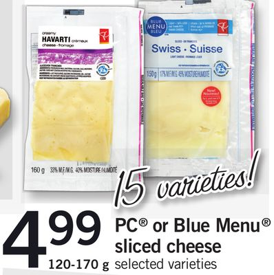 PC Or Blue Menu Sliced Cheese - 120-170 g