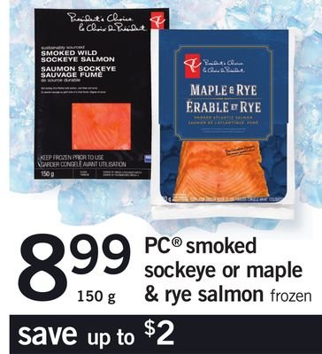 PC Smoked Sockeye Or Maple & Rye Salmon - 150 g