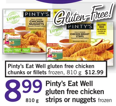 Pinty's Eat Well Gluten Free Chicken Strips Or Nuggets - 810 g