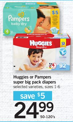 Huggies Or Pampers Super Big Pack Diapers - Sizes 1-6 - 50-120's