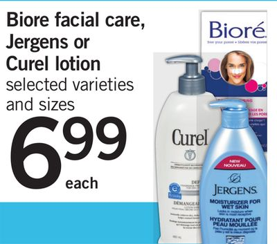 Biore Facial Care - Jergens Or Curel Lotion