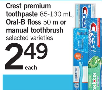 Crest Premium Toothpaste - 85-130 mL - Oral-b Floss - 50 M Or Manual Toothbrush